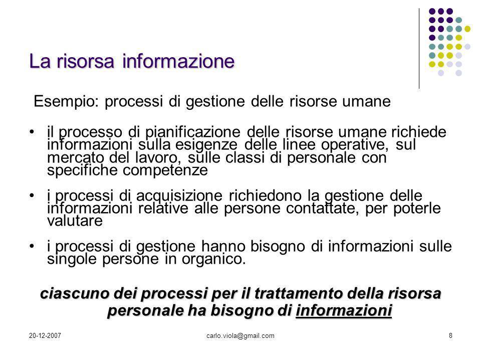 20-12-2007carlo.viola@gmail.com8 La risorsa informazione Esempio: processi di gestione delle risorse umane il processo di pianificazione delle risorse