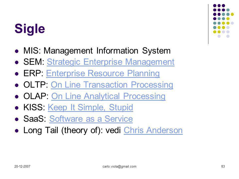 20-12-2007carlo.viola@gmail.com83 Sigle MIS: Management Information System SEM: Strategic Enterprise ManagementStrategic Enterprise Management ERP: En