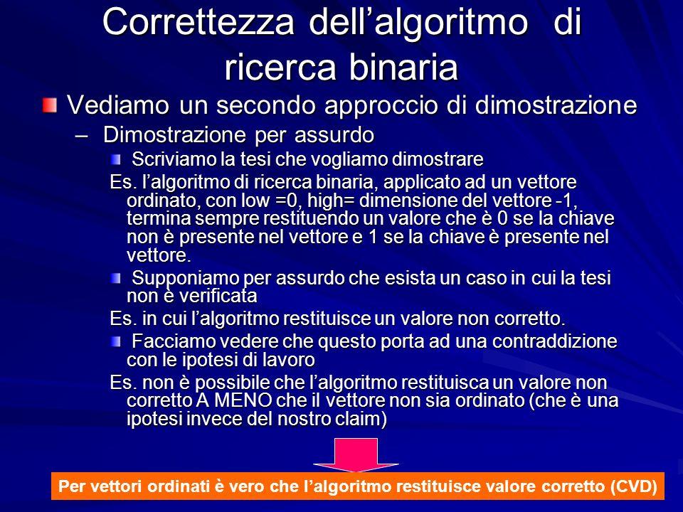 Prof.ssa Chiara Petrioli -- corso di programmazione 1, a.a. 2006/2007 Correttezza dellalgoritmo di ricerca binaria Vediamo un secondo approccio di dim