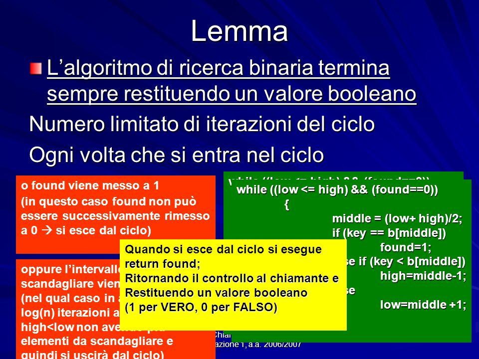 Prof.ssa Chiara Petrioli -- corso di programmazione 1, a.a. 2006/2007Lemma Lalgoritmo di ricerca binaria termina sempre restituendo un valore booleano