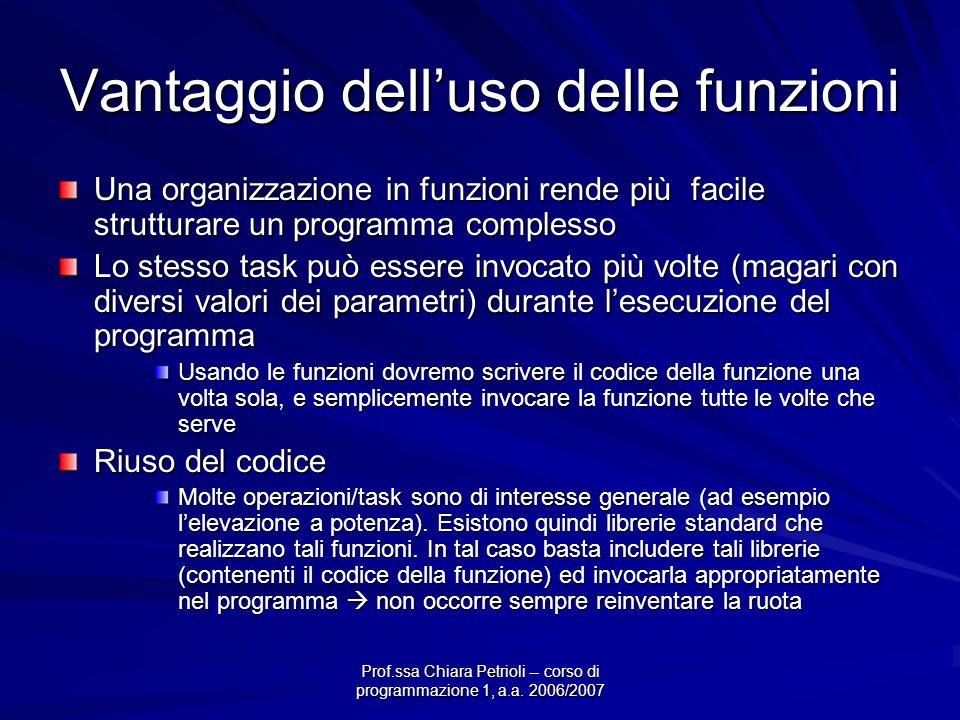 Prof.ssa Chiara Petrioli -- corso di programmazione 1, a.a. 2006/2007 Vantaggio delluso delle funzioni Una organizzazione in funzioni rende più facile