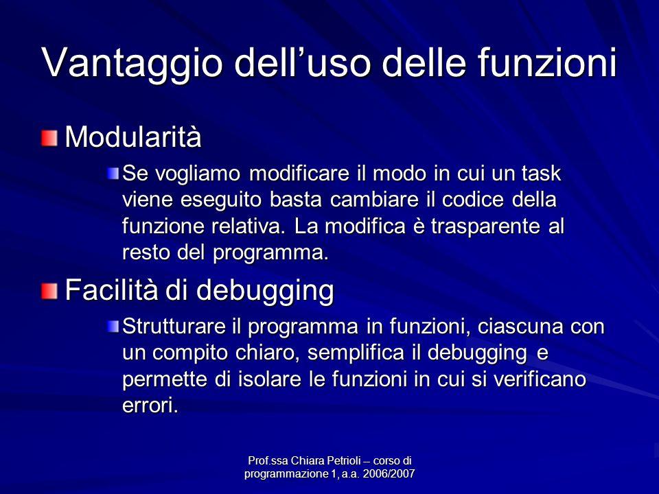 Prof.ssa Chiara Petrioli -- corso di programmazione 1, a.a. 2006/2007 Vantaggio delluso delle funzioni Modularità Se vogliamo modificare il modo in cu
