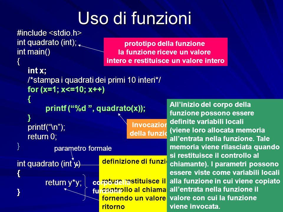 Prof.ssa Chiara Petrioli -- corso di programmazione 1, a.a. 2006/2007 Uso di funzioni #include #include int quadrato (int); int main() { int x; /*stam