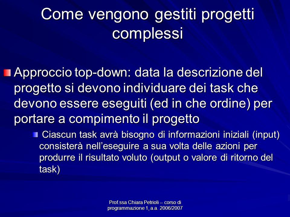 Prof.ssa Chiara Petrioli -- corso di programmazione 1, a.a. 2006/2007 Come vengono gestiti progetti complessi Approccio top-down: data la descrizione