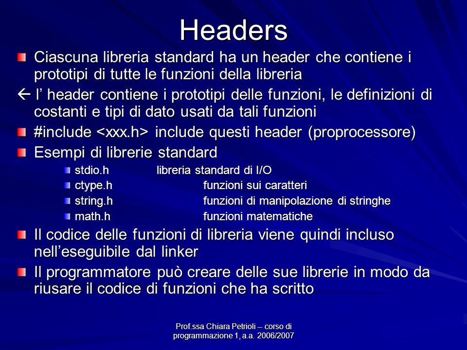 Prof.ssa Chiara Petrioli -- corso di programmazione 1, a.a. 2006/2007Headers Ciascuna libreria standard ha un header che contiene i prototipi di tutte
