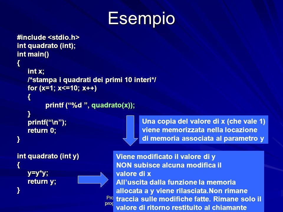 Prof.ssa Chiara Petrioli -- corso di programmazione 1, a.a. 2006/2007Esempio #include #include int quadrato (int); int main() { int x; /*stampa i quad