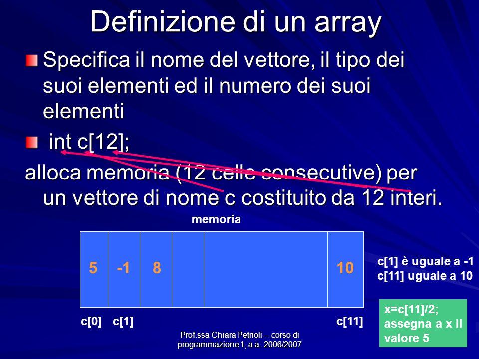 Prof.ssa Chiara Petrioli -- corso di programmazione 1, a.a. 2006/2007 Definizione di un array Specifica il nome del vettore, il tipo dei suoi elementi