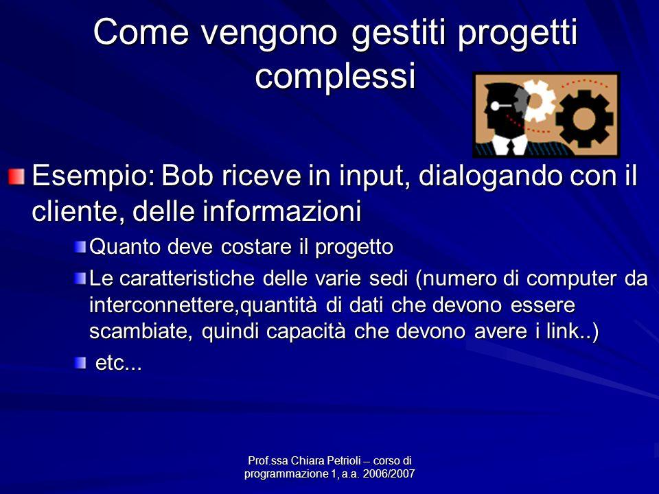 Prof.ssa Chiara Petrioli -- corso di programmazione 1, a.a. 2006/2007 Come vengono gestiti progetti complessi Esempio: Bob riceve in input, dialogando