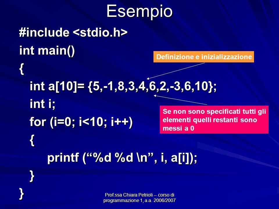 Prof.ssa Chiara Petrioli -- corso di programmazione 1, a.a. 2006/2007 Esempio #include #include int main() { int a[10]= {5,-1,8,3,4,6,2,-3,6,10}; int