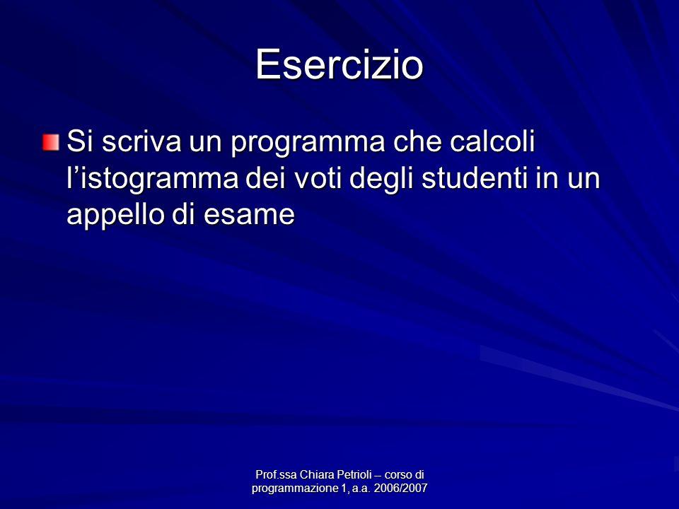 Prof.ssa Chiara Petrioli -- corso di programmazione 1, a.a. 2006/2007 Esercizio Si scriva un programma che calcoli listogramma dei voti degli studenti