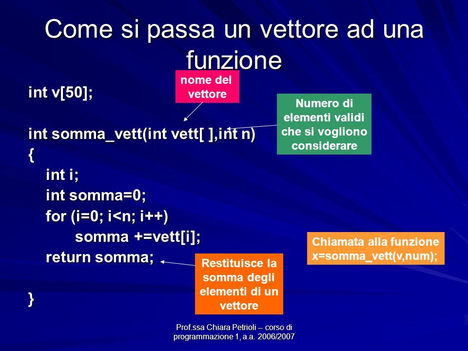 Prof.ssa Chiara Petrioli -- corso di programmazione 1, a.a. 2006/2007 Come si passa un vettore ad una funzione int v[50]; int somma_vett(int vett[ ],i