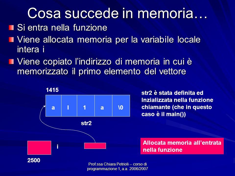 Prof.ssa Chiara Petrioli -- corso di programmazione 1, a.a. 2006/2007 Cosa succede in memoria… Si entra nella funzione Viene allocata memoria per la v