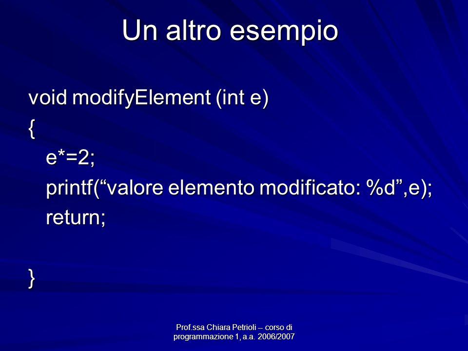 Prof.ssa Chiara Petrioli -- corso di programmazione 1, a.a. 2006/2007 Un altro esempio void modifyElement (int e) {e*=2; printf(valore elemento modifi