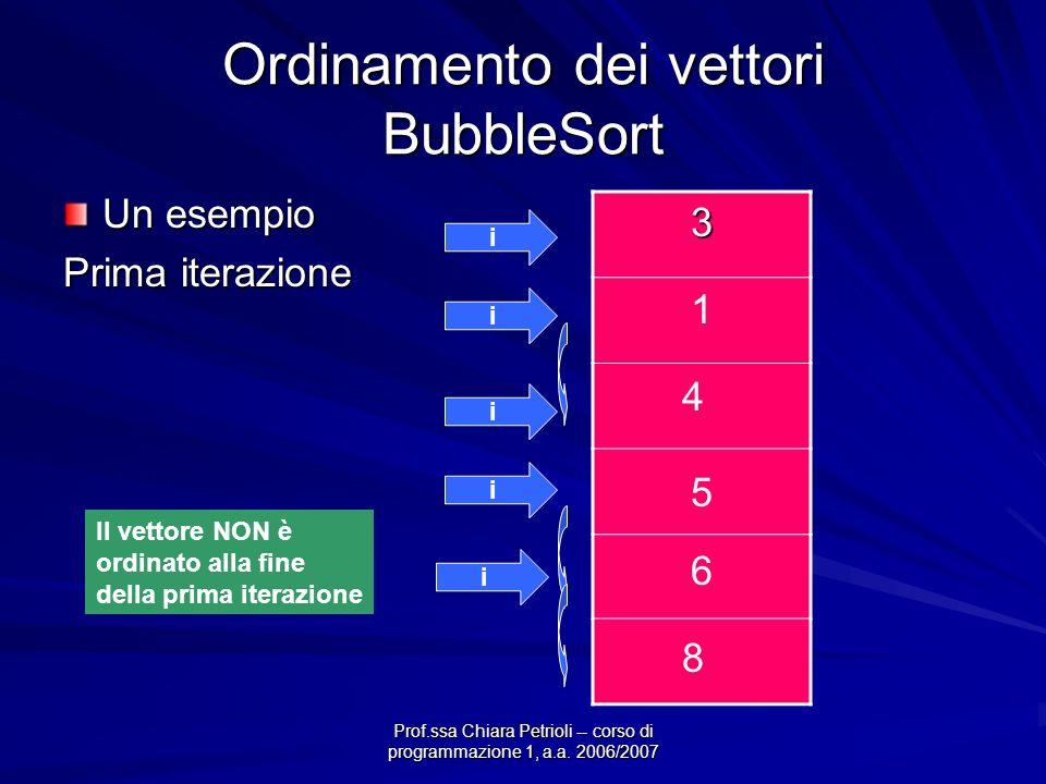 Prof.ssa Chiara Petrioli -- corso di programmazione 1, a.a. 2006/2007 Ordinamento dei vettori BubbleSort Un esempio Prima iterazione 3 4 1 8 5 6 i i 1