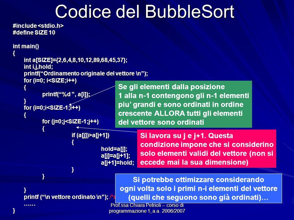 Prof.ssa Chiara Petrioli -- corso di programmazione 1, a.a. 2006/2007 Codice del BubbleSort #include #include #define SIZE 10 int main() { int a[SIZE]