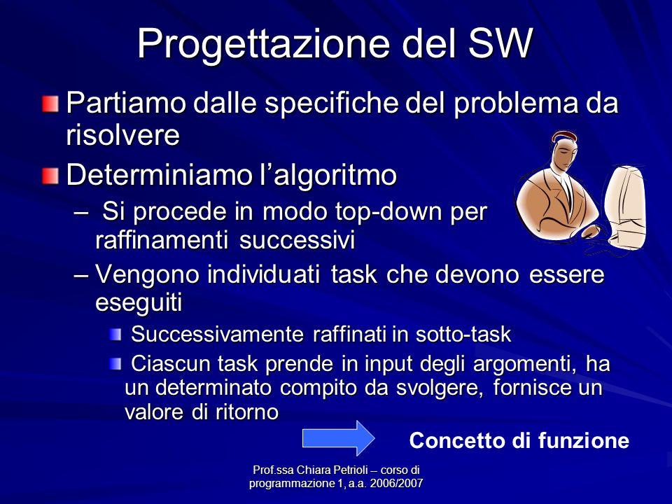 Prof.ssa Chiara Petrioli -- corso di programmazione 1, a.a. 2006/2007 Progettazione del SW Partiamo dalle specifiche del problema da risolvere Determi