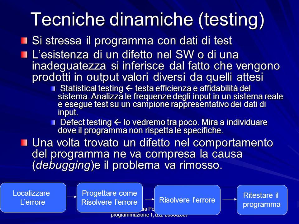 Prof.ssa Chiara Petrioli -- corso di programmazione 1, a.a. 2006/2007 Tecniche dinamiche (testing) Si stressa il programma con dati di test Lesistenza