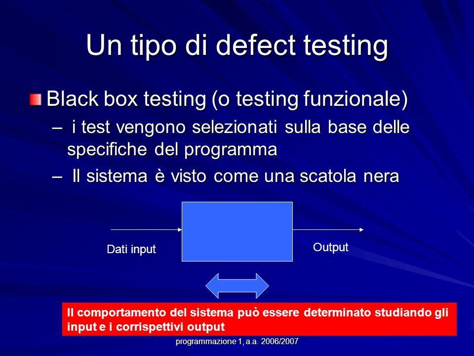 Prof.ssa Chiara Petrioli -- corso di programmazione 1, a.a. 2006/2007 Un tipo di defect testing Black box testing (o testing funzionale) – i test veng