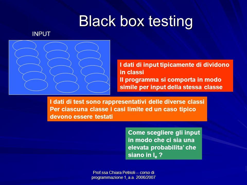 Prof.ssa Chiara Petrioli -- corso di programmazione 1, a.a. 2006/2007 Black box testing Come scegliere gli input in modo che ci sia una elevata probab