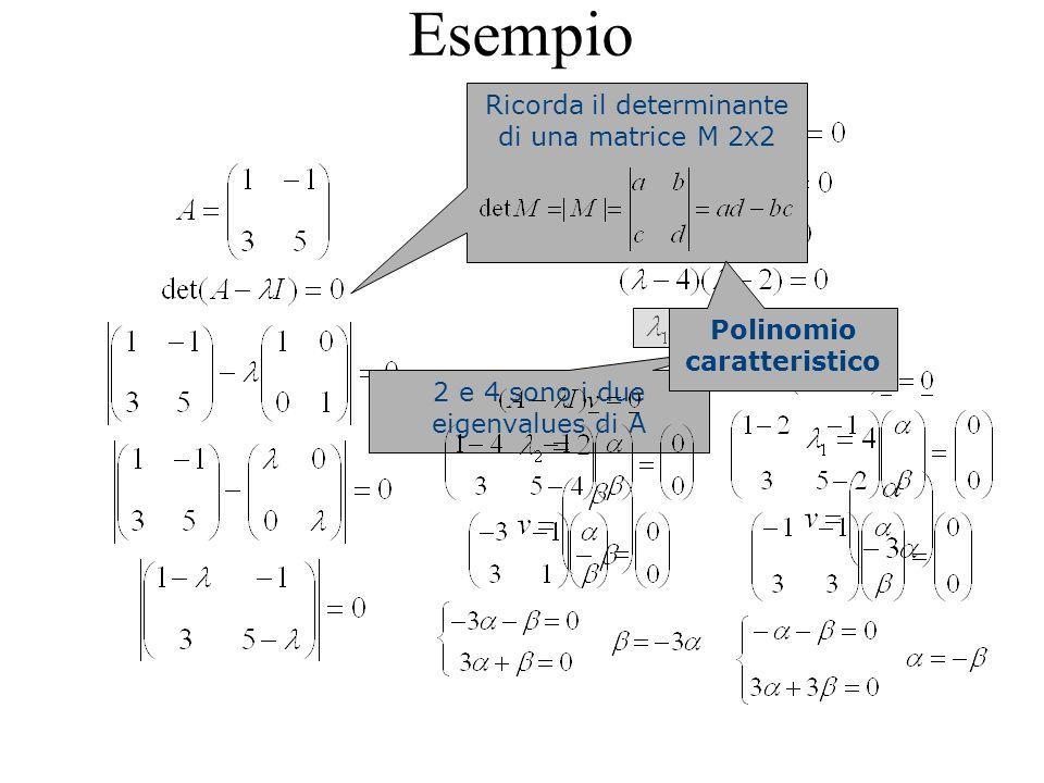 Esempio Ricorda il determinante di una matrice M 2x2 2 e 4 sono i due eigenvalues di A Polinomio caratteristico