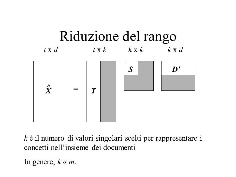 Riduzione del rango X = t x dt x kk x dk x k k è il numero di valori singolari scelti per rappresentare i concetti nellinsieme dei documenti In genere, k « m.