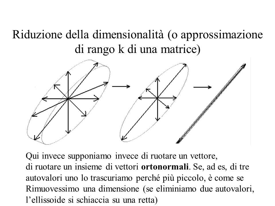 Riduzione della dimensionalità (o approssimazione di rango k di una matrice) Qui invece supponiamo invece di ruotare un vettore, di ruotare un insieme di vettori ortonormali.