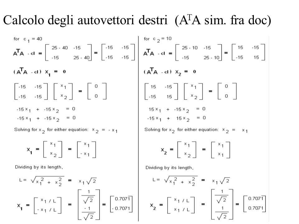 Calcolo degli autovettori destri (A T A sim. fra doc)