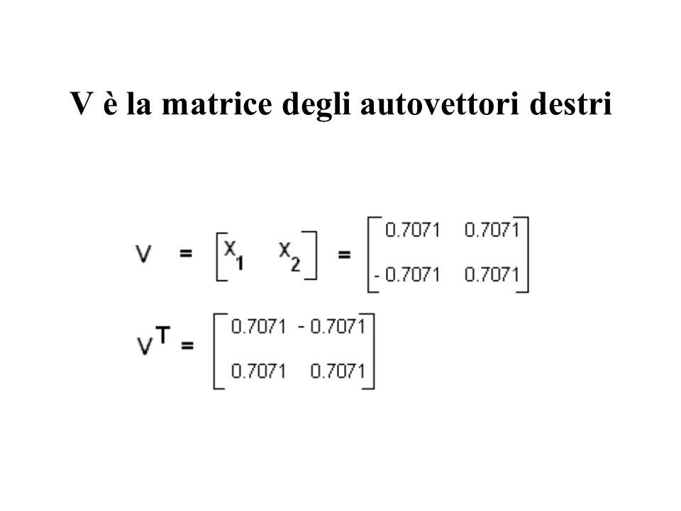 V è la matrice degli autovettori destri