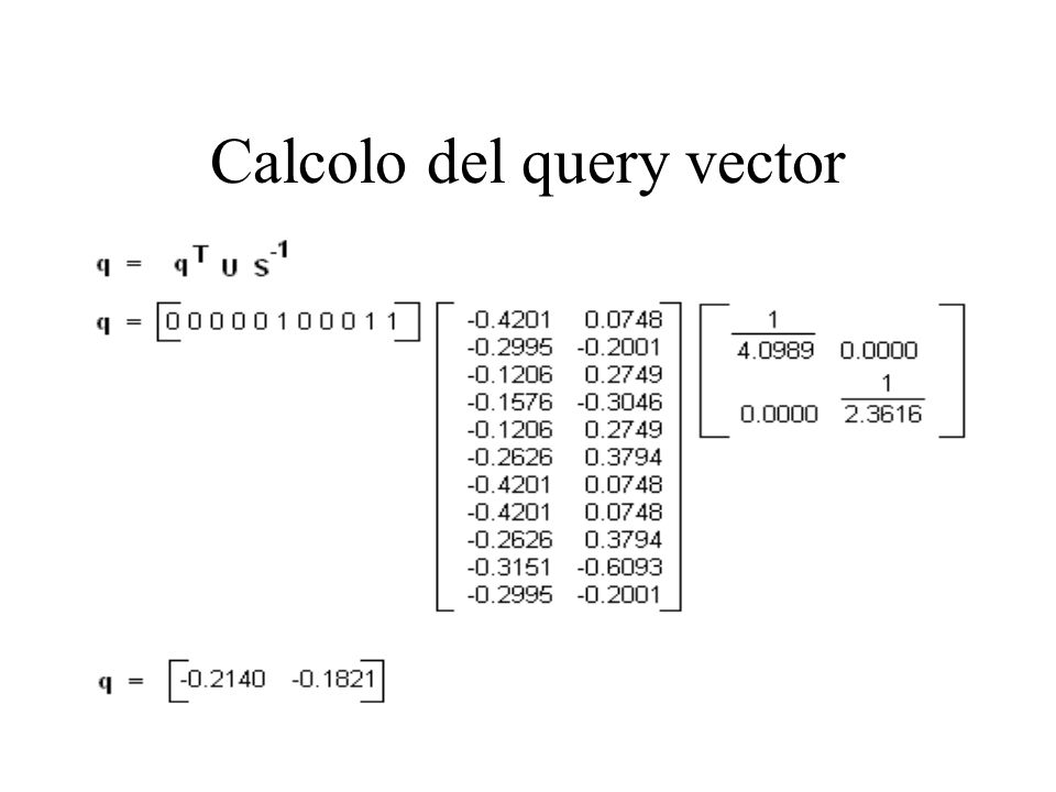 Calcolo del query vector
