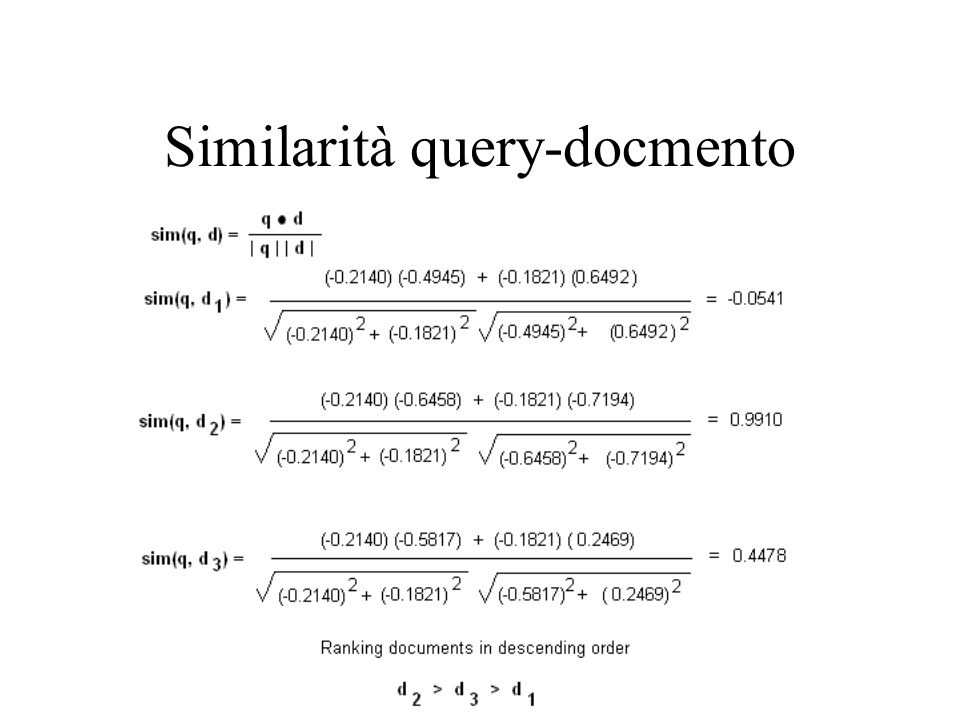 Similarità query-docmento