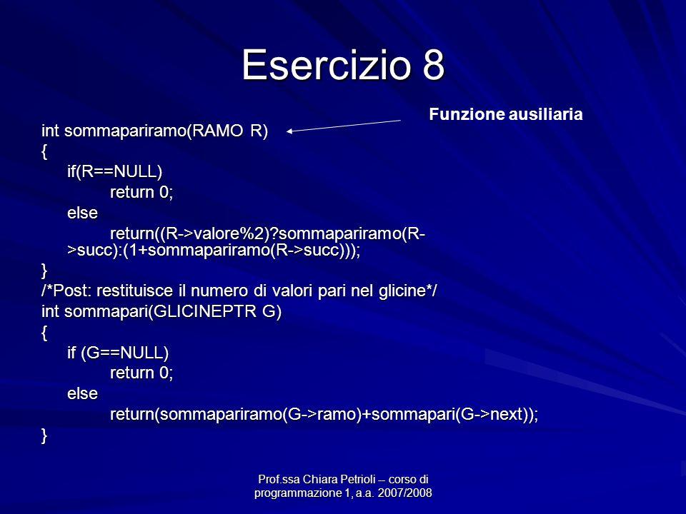 Prof.ssa Chiara Petrioli -- corso di programmazione 1, a.a. 2007/2008 Esercizio 8 int sommapariramo(RAMO R) {if(R==NULL) return 0; else return((R->val
