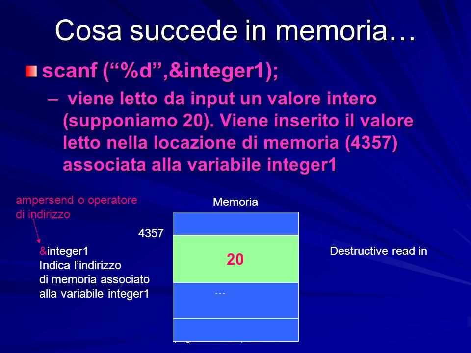Prof.ssa Chiara Petrioli -- corso di programmazione 1, a.a. 2006/2007 Cosa succede in memoria… scanf (%d,&integer1); – viene letto da input un valore