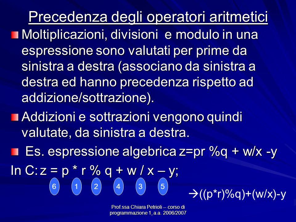 Prof.ssa Chiara Petrioli -- corso di programmazione 1, a.a. 2006/2007 Precedenza degli operatori aritmetici Moltiplicazioni, divisioni e modulo in una