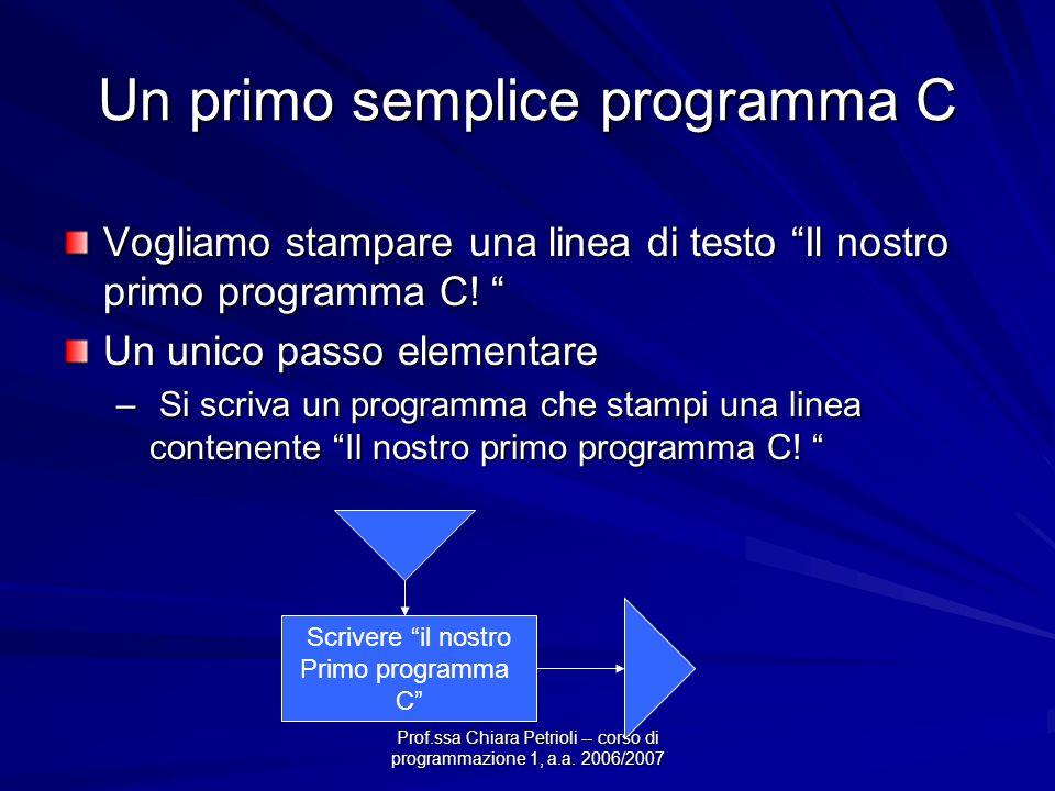Prof.ssa Chiara Petrioli -- corso di programmazione 1, a.a. 2006/2007 Un primo semplice programma C Vogliamo stampare una linea di testo Il nostro pri