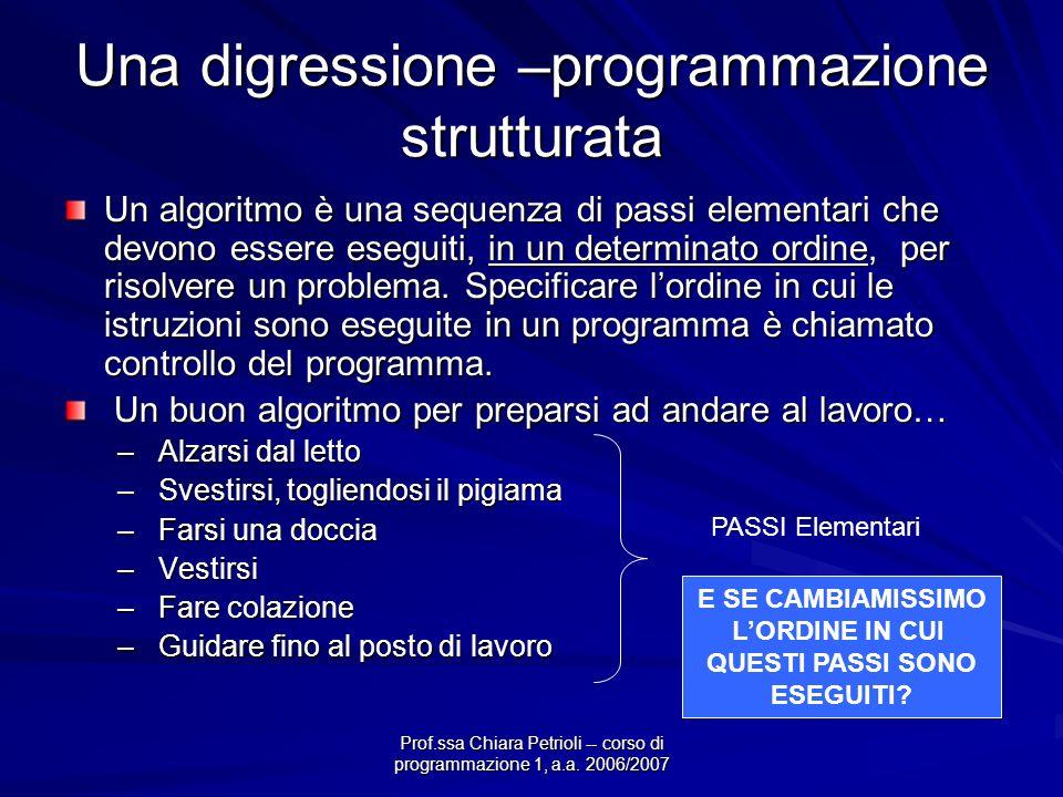 Prof.ssa Chiara Petrioli -- corso di programmazione 1, a.a. 2006/2007 Una digressione –programmazione strutturata Un algoritmo è una sequenza di passi