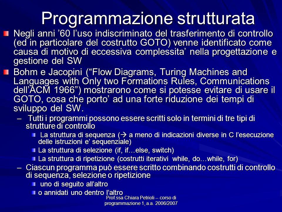 Prof.ssa Chiara Petrioli -- corso di programmazione 1, a.a. 2006/2007 Programmazione strutturata Negli anni 60 luso indiscriminato del trasferimento d