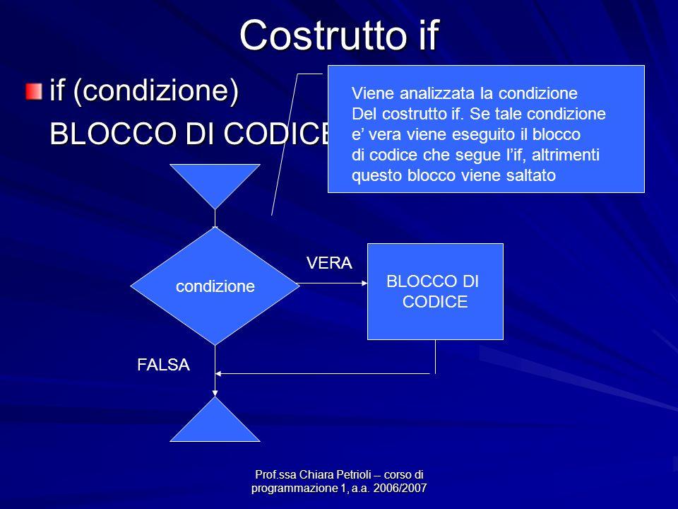 Prof.ssa Chiara Petrioli -- corso di programmazione 1, a.a. 2006/2007 Costrutto if if (condizione) BLOCCO DI CODICE; condizione VERA BLOCCO DI CODICE