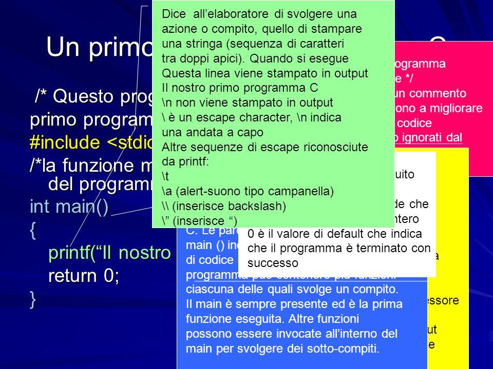 Prof.ssa Chiara Petrioli -- corso di programmazione 1, a.a. 2006/2007 Un primo semplice programma C /* Questo programma stampa il nostro /* Questo pro