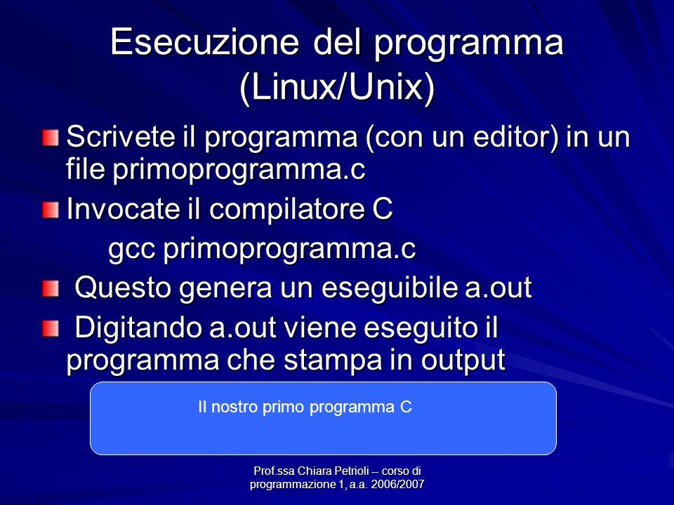Prof.ssa Chiara Petrioli -- corso di programmazione 1, a.a. 2006/2007 Esecuzione del programma (Linux/Unix) Scrivete il programma (con un editor) in u