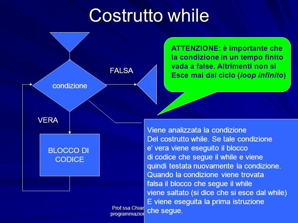 Prof.ssa Chiara Petrioli -- corso di programmazione 1, a.a. 2006/2007 Viene analizzata la condizione Del costrutto while. Se tale condizione e vera vi
