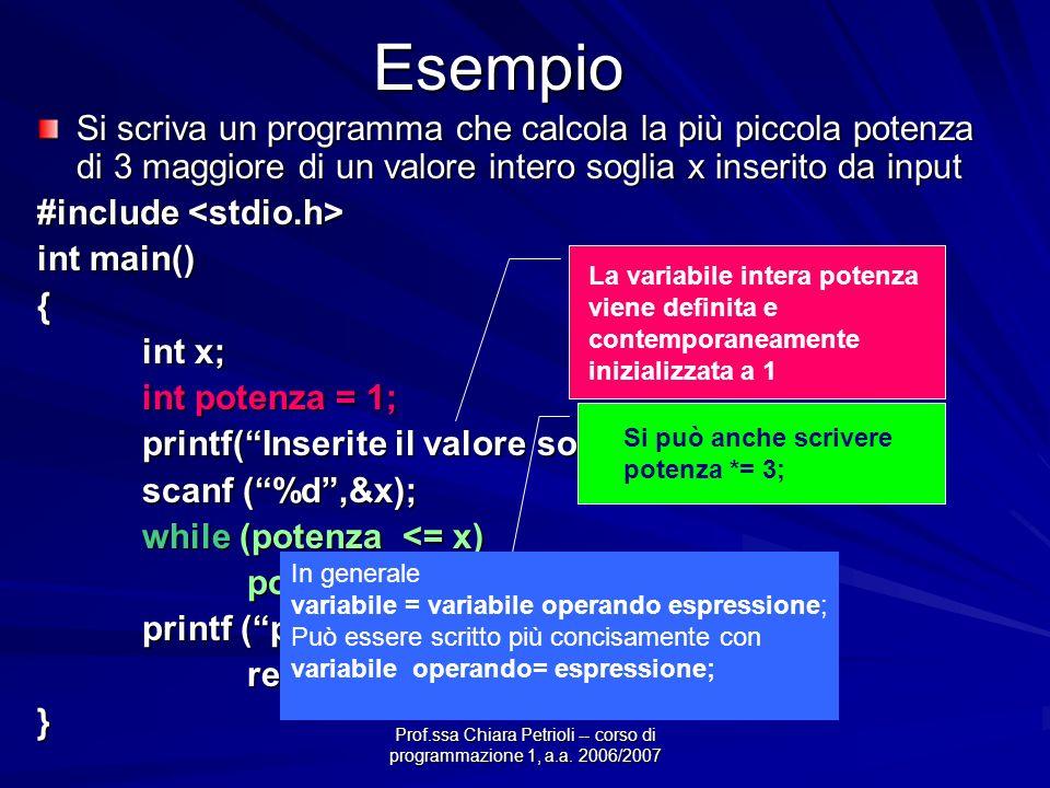 Prof.ssa Chiara Petrioli -- corso di programmazione 1, a.a. 2006/2007Esempio Si scriva un programma che calcola la più piccola potenza di 3 maggiore d