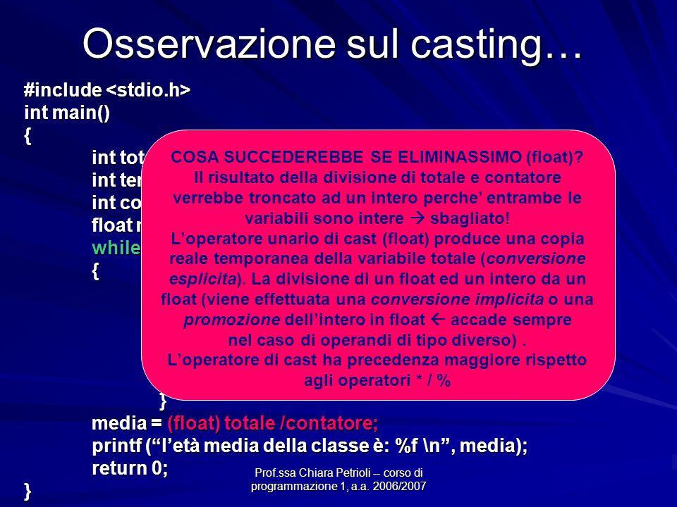 Prof.ssa Chiara Petrioli -- corso di programmazione 1, a.a. 2006/2007 Osservazione sul casting… #include #include int main() { int totale = 0; int tem
