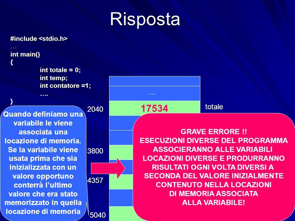 Prof.ssa Chiara Petrioli -- corso di programmazione 1, a.a. 2006/2007Risposta #include #include … int main() { int totale = 0; int temp; int contatore