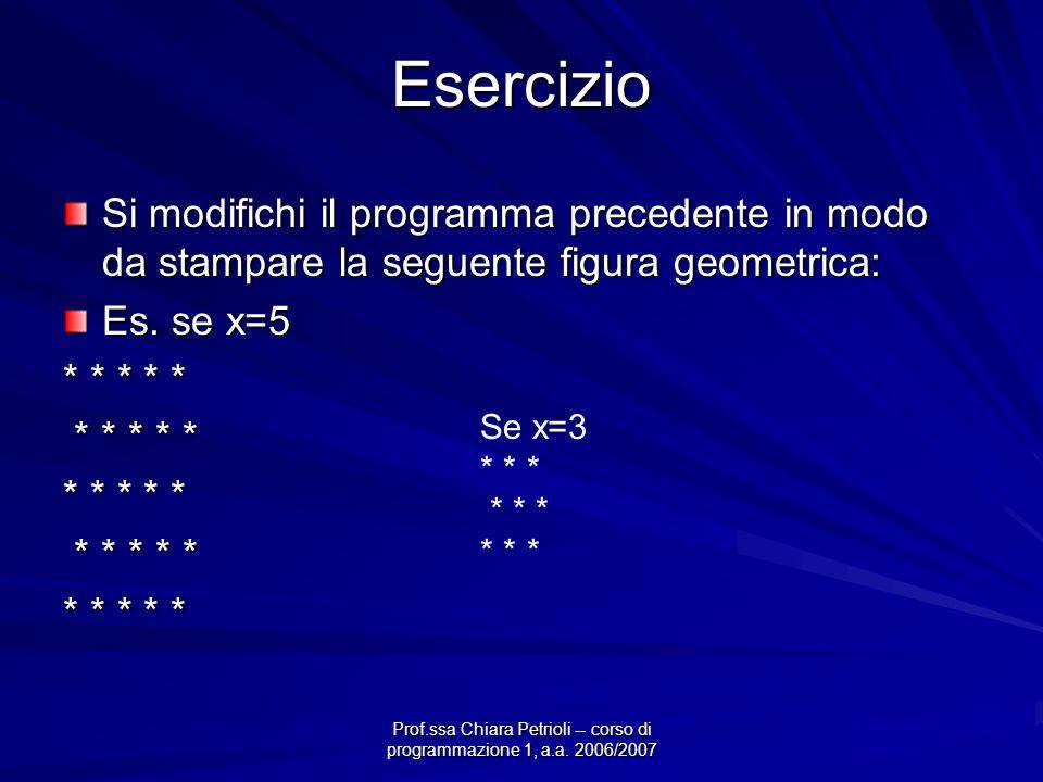 Prof.ssa Chiara Petrioli -- corso di programmazione 1, a.a. 2006/2007 Esercizio Si modifichi il programma precedente in modo da stampare la seguente f