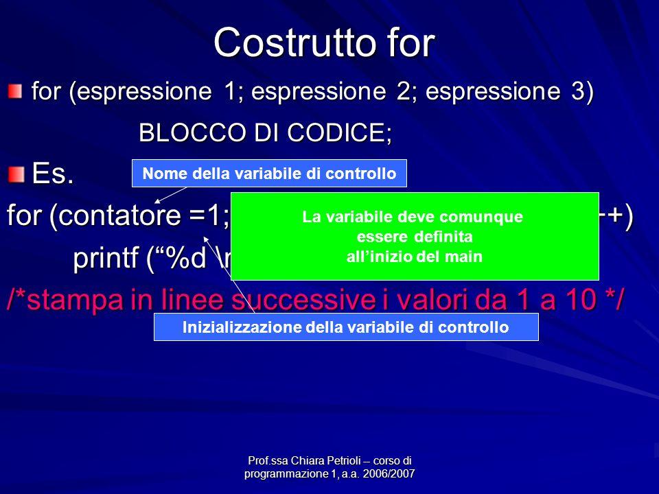 Prof.ssa Chiara Petrioli -- corso di programmazione 1, a.a. 2006/2007 Costrutto switch