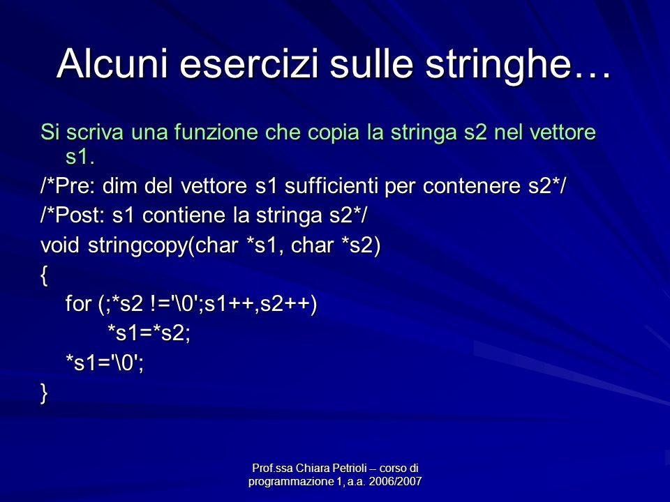 Prof.ssa Chiara Petrioli -- corso di programmazione 1, a.a. 2006/2007 Alcuni esercizi sulle stringhe… Si scriva una funzione che copia la stringa s2 n