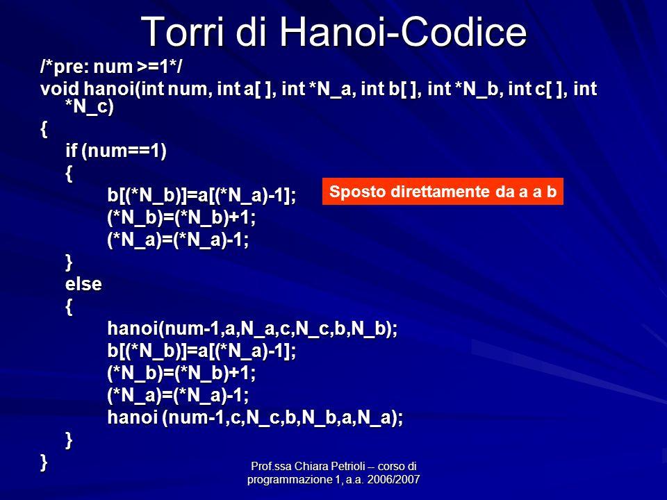 Prof.ssa Chiara Petrioli -- corso di programmazione 1, a.a. 2006/2007 Torri di Hanoi-Codice /*pre: num >=1*/ void hanoi(int num, int a[ ], int *N_a, i