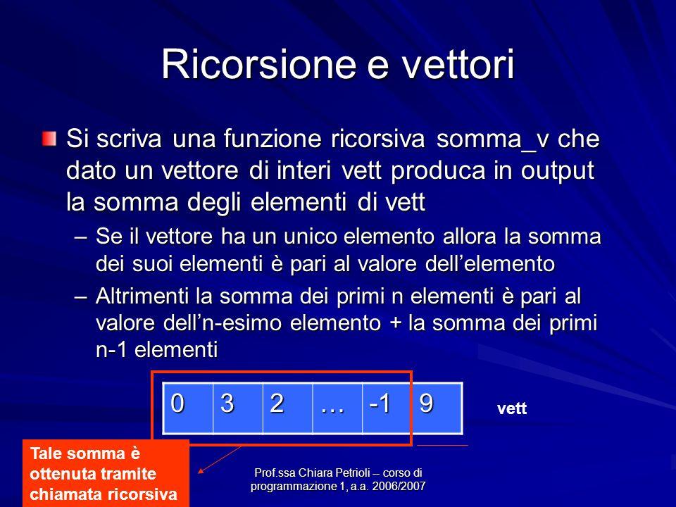 Prof.ssa Chiara Petrioli -- corso di programmazione 1, a.a. 2006/2007 Ricorsione e vettori Si scriva una funzione ricorsiva somma_v che dato un vettor