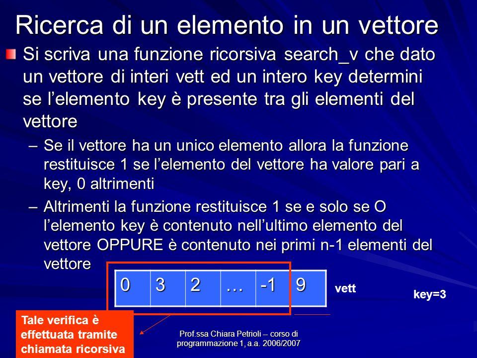 Prof.ssa Chiara Petrioli -- corso di programmazione 1, a.a. 2006/2007 Ricerca di un elemento in un vettore Si scriva una funzione ricorsiva search_v c