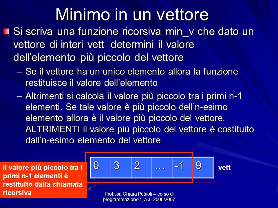 Prof.ssa Chiara Petrioli -- corso di programmazione 1, a.a. 2006/2007 Minimo in un vettore Si scriva una funzione ricorsiva min_v che dato un vettore